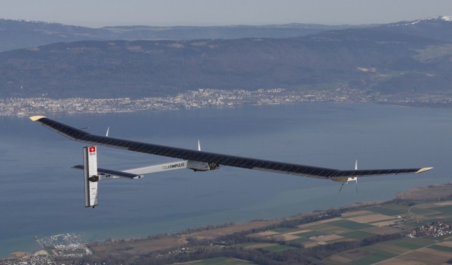 Solar Impulse, a prototype of an airplane designed to fly around the world using only solar power