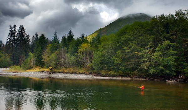 Fly fishing in the Tahsish River