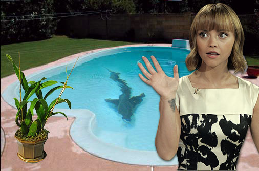 Christina Ricci has this bizarre fear that a shark might swim through a hatch into the swimming pool. She's also scared of ghosts, gerbils and house plants (botanophobia).