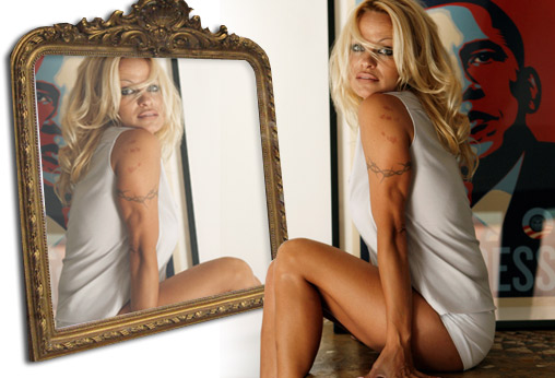 Pamela Anderson doesn't like mirrors.