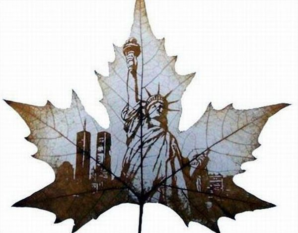 Leaf Carving Artwork Man Standing 15