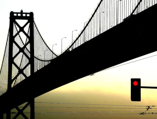 Beautiful silhouette  photography of bridge