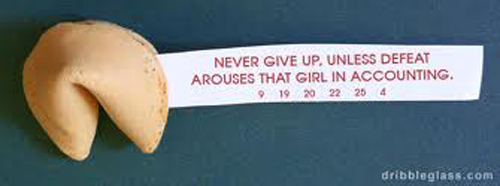 Never give up unless defeat arounds that girl in accounting