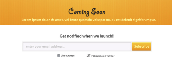 ComingSoon Template (PSD) is an orange color singn
