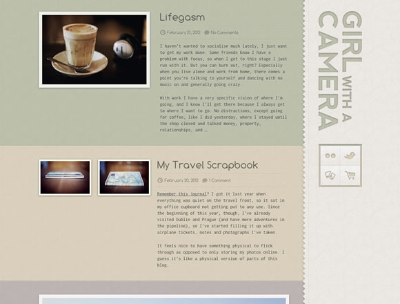 Girl with a Camera fixed position website for web development