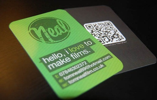 QR code business cards green colored interesting cards