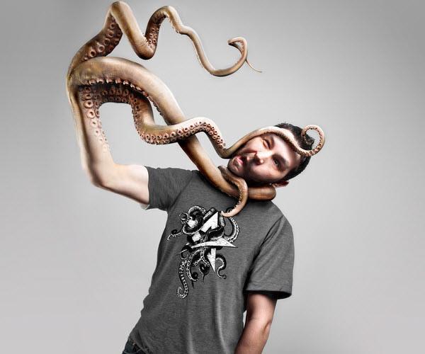 Snake shape amazing hand of a man