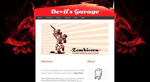 The Devil's Garage red color dark portfolio desing