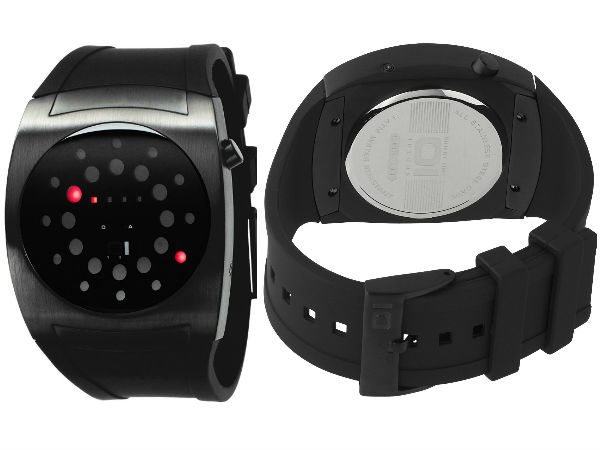 <h3> 			 			01TheOne Unisex Lightmare Red LED Black Rubber Watch			 		</h3>