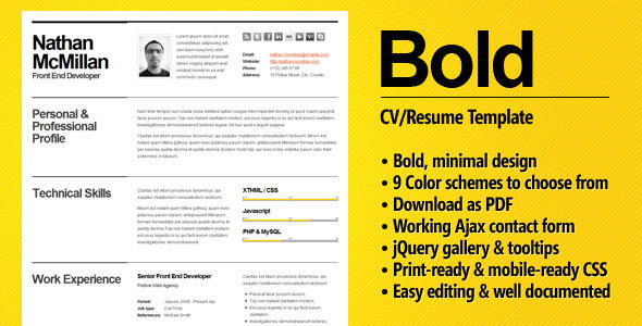 Bold – CV  Resume Template – Minimal & Smart