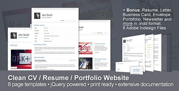 Clean CV  Resume  Portfolio Website for web devekiopement
