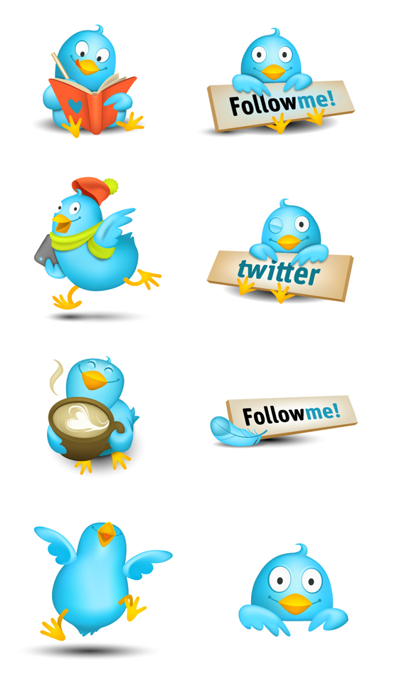 Cute Tweeters Icon Set for enjoyment