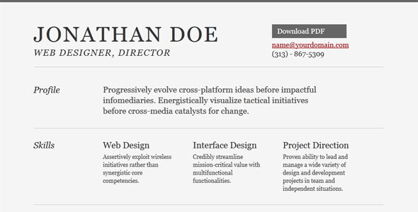 DIY HTML Resume models for making and developing cv online free