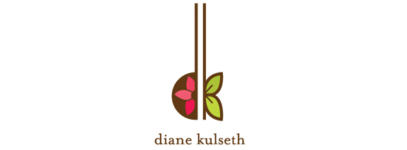 Diane Kulseth is a green and pink color flower logo design