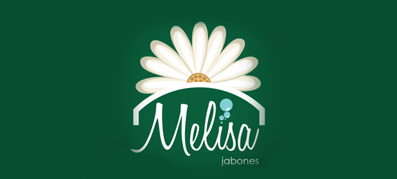 Jabones Melisa is a green color flower logo desing