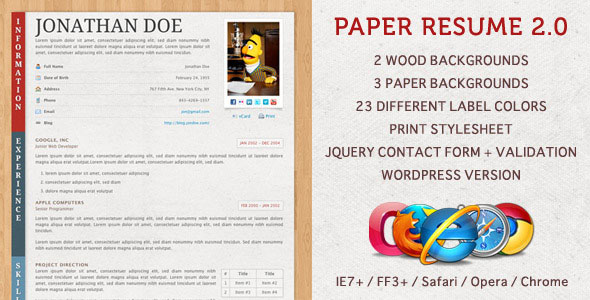 Paper Resume  CV websitre templates for your inspiration