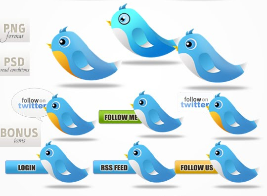 Twitter Bird Icon Set that can be easily free download