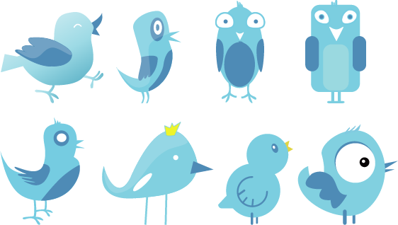 Twitter Birds Set simple icons but useful