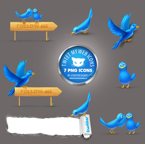 Twitter Icons blue bird icons that can easily get viewership