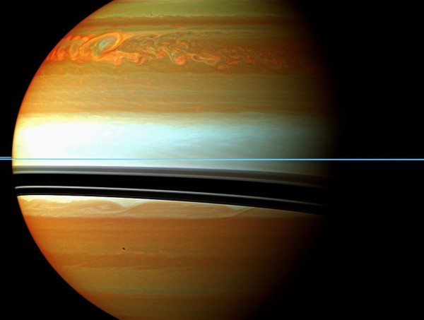 The birth of a storm on Saturn