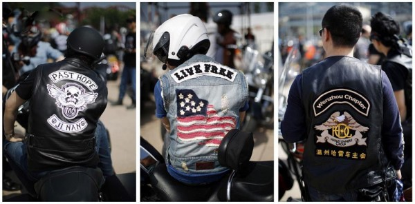 Jackets bikers who take part in the annual Harley Davidson rally