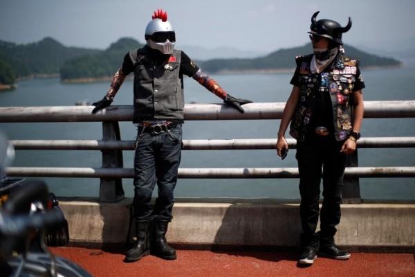 Bikers take part in the annual Harley Davidson rally at Lake Qiandaohu in Zhejiang Province, China.