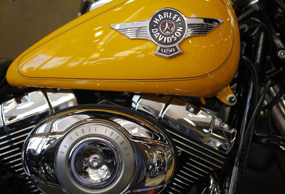The fuel tank and the engine of motorcycle Harley-Davidson. Photos from the archive was made in Frederick, Maryland.