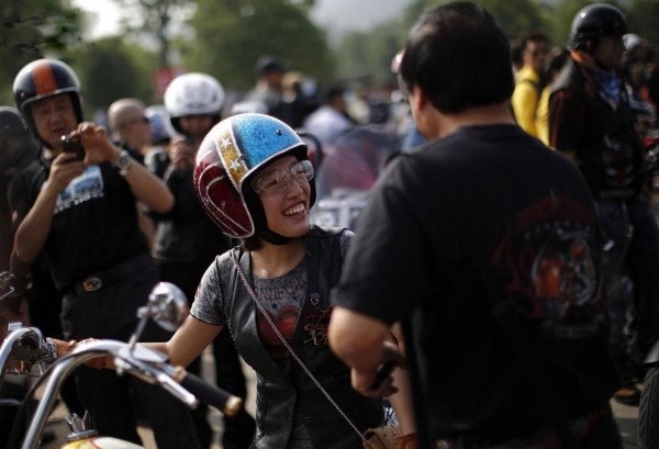 Biker takes part in the annual Harley Davidson rally