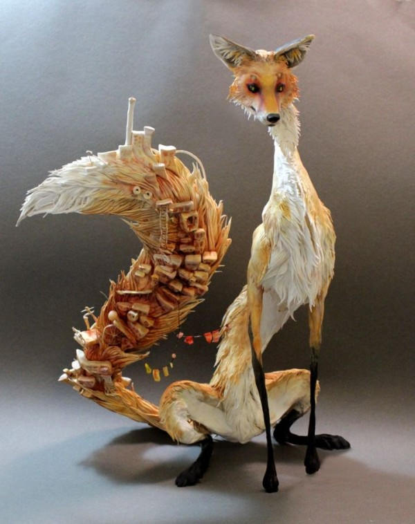 Tall Fox with Village