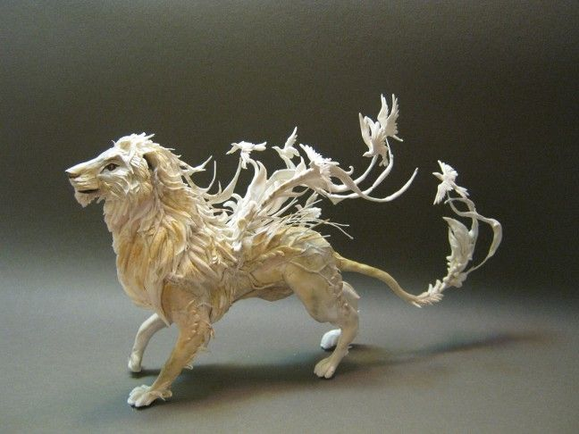 White Lion with Birds