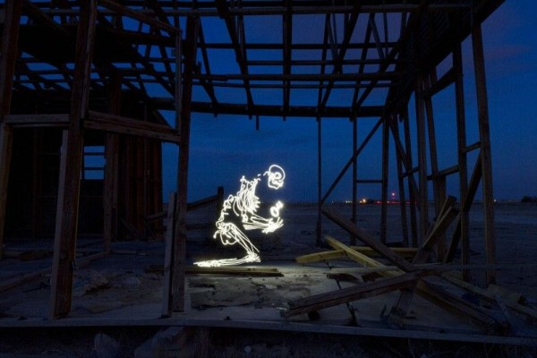 Skeleton holding the key was generated using 121-second exposure Darren in Lancaster, California