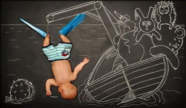 Dreamy chalkboard drawings transport tot to fantasy lands near and far