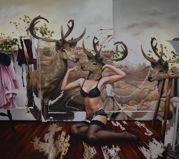 Pin-Up Girls Portraits with the Heads of Deer