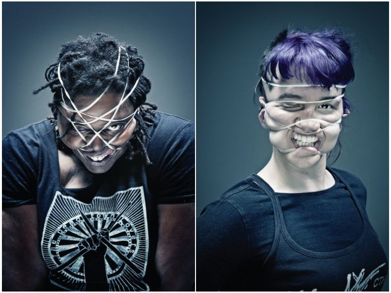 Bizarre Rubber Band Portraits by Wes Naman