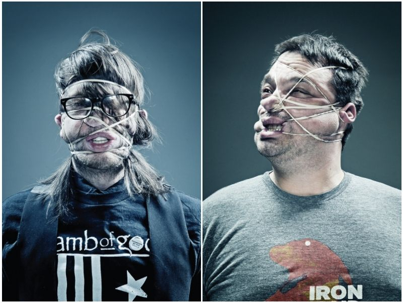 Portraits of Musicians With Rubber Band-Wrapped Faces