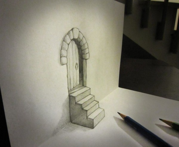 Door and stair anamorphosis