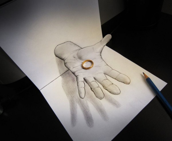 Ring - Anamorphic 3D Pencil Drawings by Alessandro Diddi