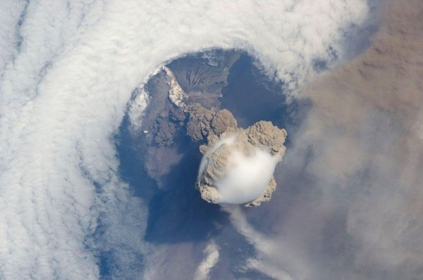 Erupting Volcanoes photographs from the Space