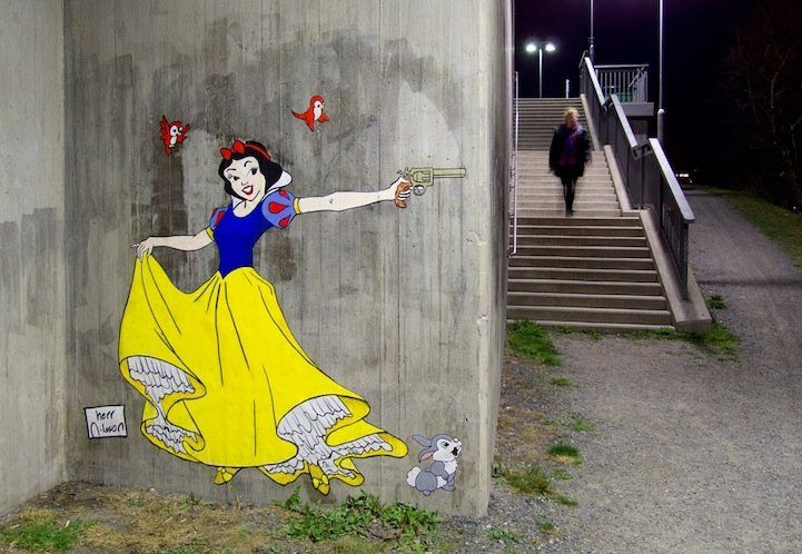 The Harsh Reality of Fairy Tales in Herr Nilsson's Street Art