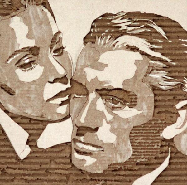 Cardboard Relief Portraits by Giles Oldershaw