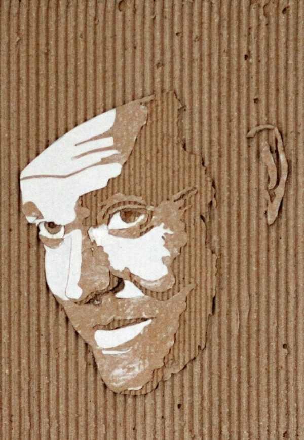 Cardboard Relief Portraits by Giles Oldershaw