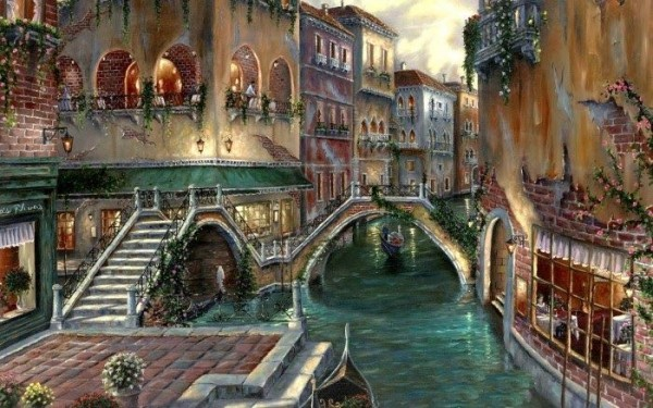 Romantic Impressionistic Cityscapes Oil Paintings