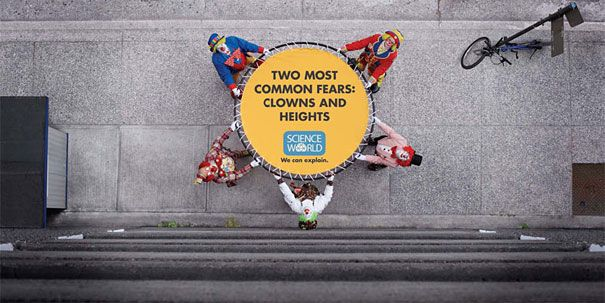 Two of the most common fears are clowns and heights