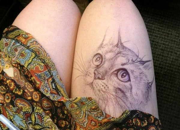 kitty - College Student Jody Steel Creates Amazing Doodles on Her Legs!