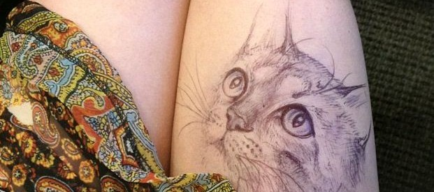kitty - College Student Jody Steel Creates Amazing Doodles on Her Legs!