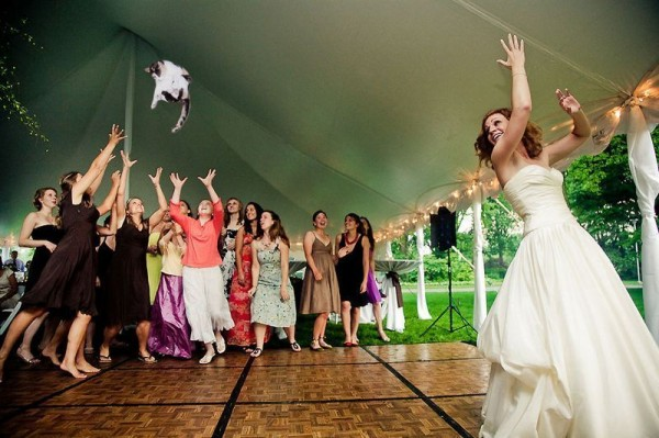 Bride Throwing Cats