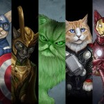 Cats as Superheroes by Artist Jenny Parks