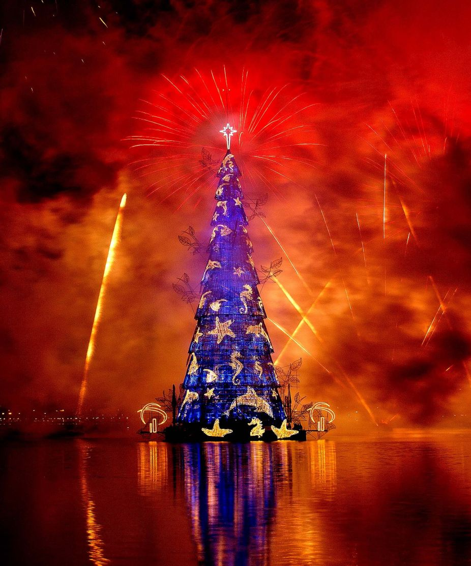 At the opening of the world's largest floating Christmas tree in Rio de Janeiro, Brazil