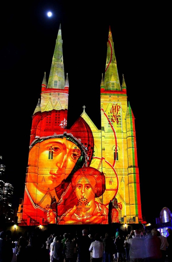 'Christmas Lights 2013' in Sydney, Australia. Original light pattern on the Cathedral of St. Mary