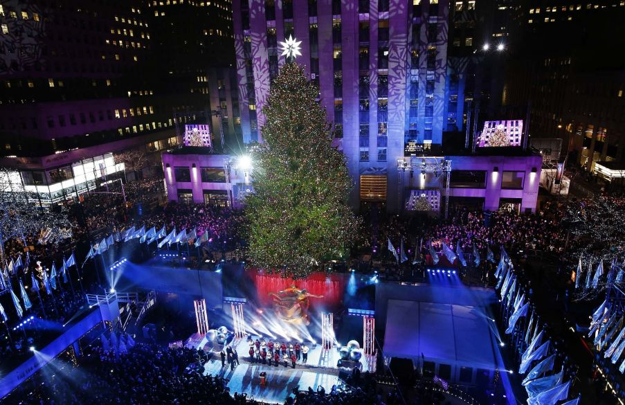 Inauguration of the Christmas tree in New York City at Rockefeller Center